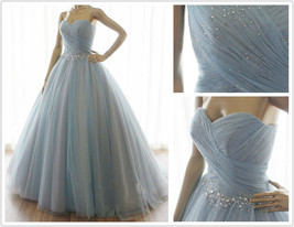 New Ball Gown Evening Dresses Formal Blue Tulle Crystal Party Prom Brida... - $111.84