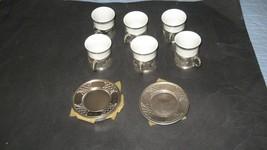 Set of 6 vintage Swiss Landmarks.  Demitasse Cup Saucer set. Metal and Porcelain - $49.49