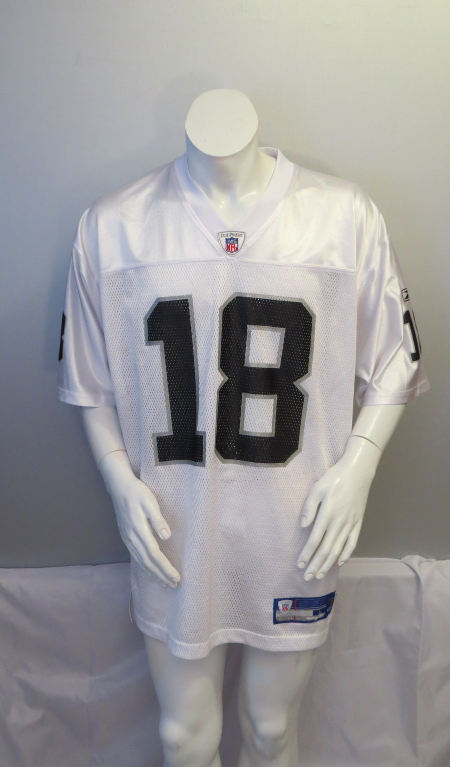 Primary image for Oakland Raiders Jersey (Retro) - Randy Moss # 18 - Away White - Men's Large