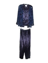 Donna Ricco Midnight Blue Satin Pants Set Cami Top w/attached Jacket Top... - $61.75