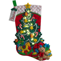 Bucilla - ' Christmas Tree Surprise'  LED Felt Stocking  Embroidery Kit ... - $34.99
