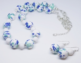Teal Blue White Ceramic Beaded Duo Set - $30.00