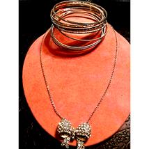 WOW! Rhinestone Bow Necklace & Bangles - $18.81