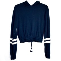 Divided H&M Navy Blue Cropped Long Sleeve Hoodie w Drawstring Waist Size M