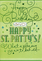 Sign of the Shamrock St. Patrick's Day Birthday Card - $3.29