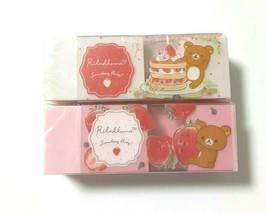 Rilakkuma Eraser in Eraser Strawberry party 2 pieces SAN-X Cute Pink White - $7.70