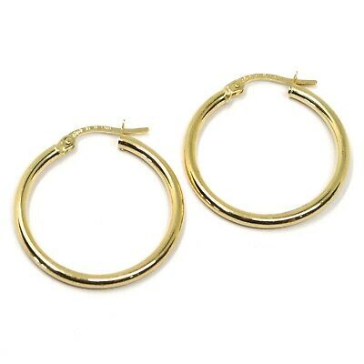 18K YELLOW GOLD ROUND CIRCLE EARRINGS DIAMETER 20 MM, WIDTH 2 MM, MADE IN ITALY