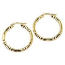 18K YELLOW GOLD ROUND CIRCLE EARRINGS DIAMETER 20 MM, WIDTH 2 MM, MADE IN ITALY image 1
