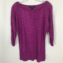 White House Black Market Pull Over Sweater ~ M ~ Hot Pink ~ Sheer Zig Za... - $14.01