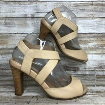 You By Crocs 7M Beige Textured Leather Dress Sandal Open Toe Elastic Ankle Strap - $33.99