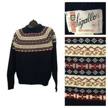 1970s Fair Isle Sweater / 70s Knit Sweater Mod Suedehead Glam / Men's Me... - $49.00