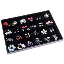 Valdler Velvet Stackable 24 Grid Jewelry Tray Showcase Display Organizer - $14.62