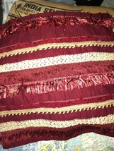 Lovely Crimson Red Fringed Indian Beaded Cushion Covers Set Of 2 {Unbranded} - $13.86