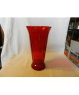 "Ruby Red Glass Roman Column Flower Vase 10.5"" Tall 5.5"" Opening - $44.55"