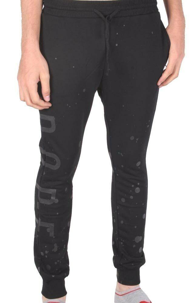Dope Schwarz Grau Farbverlauf Splatter Skinny Vlies Jogginghose Jogging Hose Nwt
