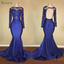 Long Prom Dresses 2018 Gorgeous Sheer Scalloped Long Sleeve Top Lace Bac... - $189.00