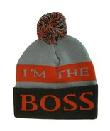 I'm The Boss Adult Size Tri-Color Striped Winter Knit Pom Beanie Light G... - $11.95