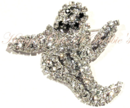 Ghost Pin Brooch Clear Austrian Crystal Prong Set Silvertone Autumn Halloween - $24.99