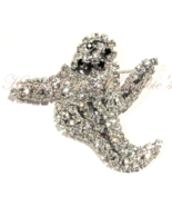 Ghost Pin Brooch Clear Austrian Crystal Prong Set Silvertone Autumn Hall... - $24.99