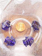 Vintage Venetian Murano Glass Lampwork Fish Beads in Blue Loose Beads 4ct - $5.00