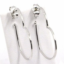 Drop Earrings White Gold 750 18K, Hearts, Length 2.9 cm, Made in Italy image 2