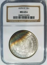 1878 CC Silver Morgan Dollar NGC MS 63 Star Rainbow Crescent Toned Tonin... - $699.99