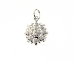 18K WHITE GOLD ROUNDED SMILING SUN PENDANT CHARM 22 MM SMOOTH MADE IN ITALY image 1