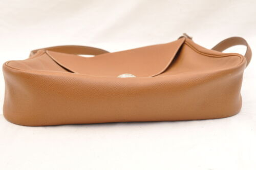 HERMES Christine Shoulder Bag Leather Brown Auth 5676 image 8
