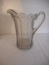 Vintage  Clear Glass Pitcher Retro Drinking Beverage Pitcher Grey tinted - $29.69