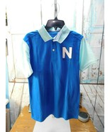 NAUTICA Boys Polo Shirt Sz M Medium 10/12 Blue/Light Blue Spellout NWT - $12.86
