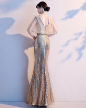 Women Gold Sequin Dress Cap Sleeve High Slit Sequin Maxi Wedding Dress,Plus Size image 6
