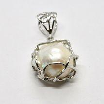 Silver Pendant 925 Pearl White Baroque Handmade Pendant Single image 3