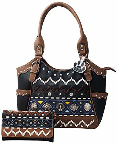 Western Purse Cross Leaves Vine Concealed Carry Crossbody Handbag Messenger Bag