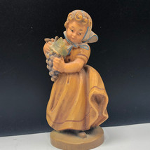 Italy wood carved figurine wine maiden girl grapes statue sculpture anri... - $37.62