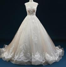 Court Train A-Line Applique Beaded Sheer Lace Tulle Wedding Gown image 9