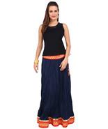Blue & Orange Mirror Border Jaipuri Skirt - SNY18245 - $26.00