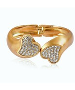 Kissable Cuff Bangle Bracelet Crystal  GOLD tone 7.25 inches MOTHER'S DAY - $69.18