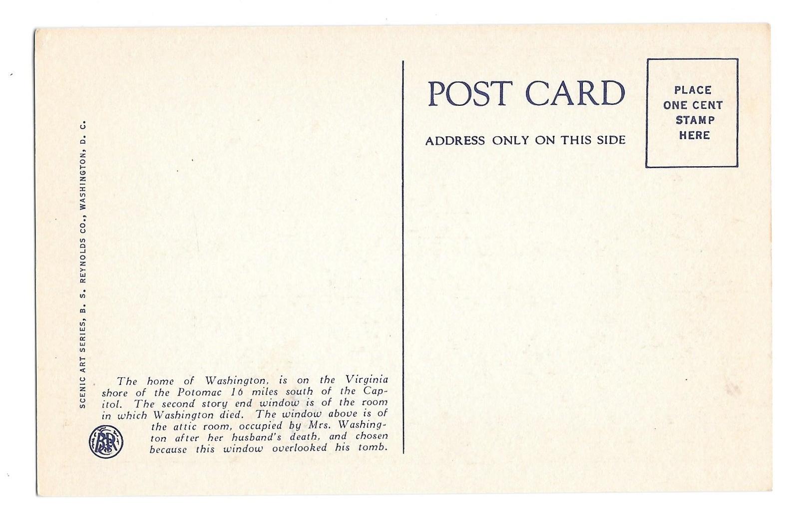 VA George Washingtons Mansion Mount Vernon B S Reynolds Linen Postcard