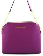 AUTHENTIC NEW NWT MICHAEL KORS LEATHER CINDY PURPLE POMEGRANATE CROSSBOD... - $99.99