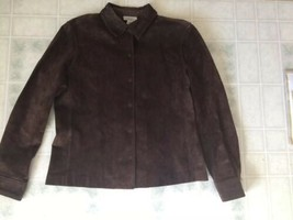 Ann Taylor Loft Medium Petite Brown Suede Leather Jacket Pockets Soft Snap Front - $21.25