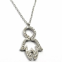 18K WHITE GOLD NECKLACE, BABY CHILD BOY SON PENDANT WITH DIAMONDS ROLO CHAIN image 1