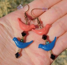 Handmade Artisan Crafted Pink & Blue Colored Bird Drop Dangle Earrings f... - $15.29