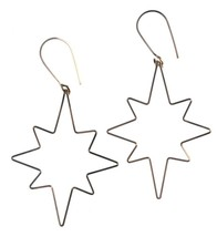 By Philippe 14KT Gold Filled Wire Small Star Flake Shepherds Hook Earrings NWT image 1