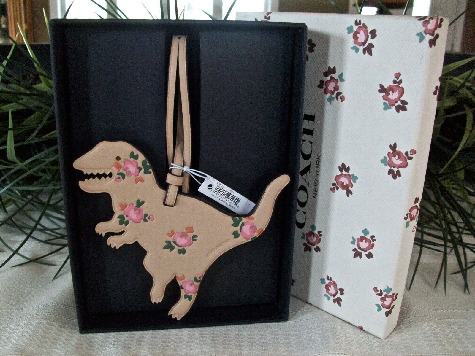 Coach Boxed Leather Printed Floral Rexy Dinosaur Charm Ornament 27418 Beechwood