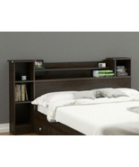 Modern Bookcase Headboard Full/Queen Storage Shelves Reversible Espresso... - $168.29