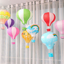 """30cm/12"""" Folding Rainbow Hot Air Balloon Paper Lantern With Basket Party... - $2.90"""