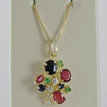 18K YELLOW GOLD FLOWER NECKLACE DIAMOND SAPPHIRE RUBY EMERALD MADE IN ITALY  image 1