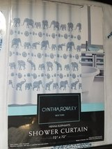 Cynthia Rowley Henna Elephants Navy/Blues on White Shower Curtain - $38.00
