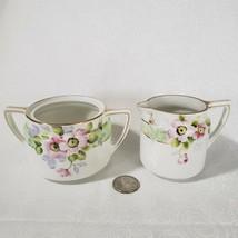VTG Nippon Creamer and Sugar Bowl Hand Painted Pink Floral & Gold Gilt - $14.95
