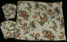 Tablecloth 106X60 10 Napkins 20X20 Autumn Fruit Fall Leaves Green Gold o... - $50.99